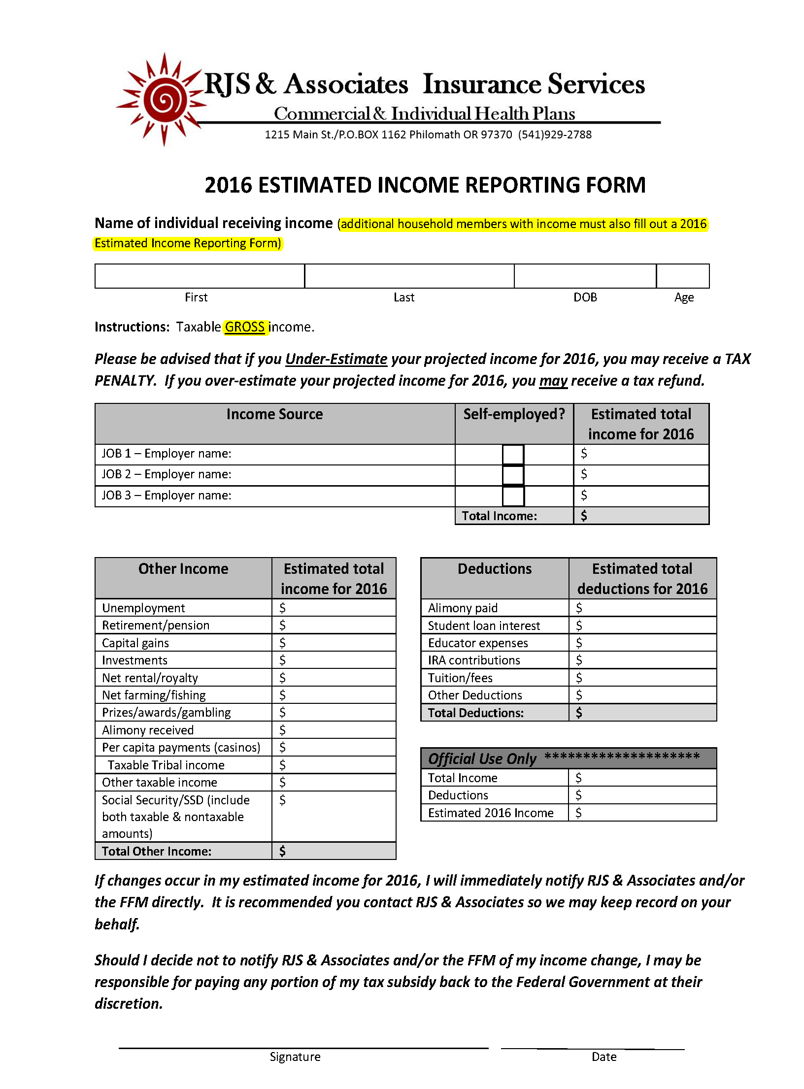 Income Reporting Form (2016) - Fillable